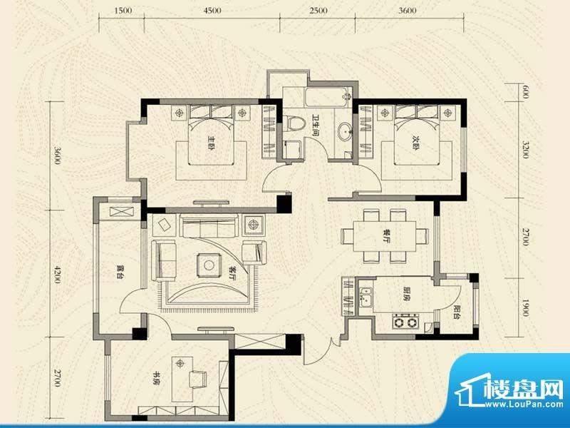 辽河左岸三室二厅一面积:126.42m平米