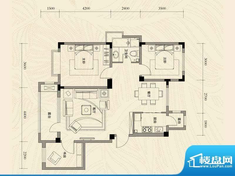 辽河左岸三室二厅一面积:110.93m平米