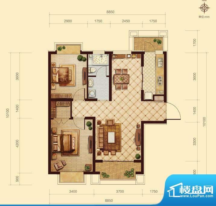 中交凯旋城A2 2室2厅面积:100.00m平米