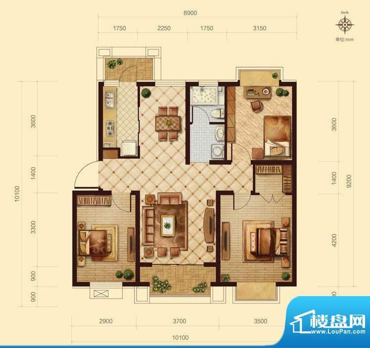 中交凯旋城B1 3室2厅面积:116.00m平米