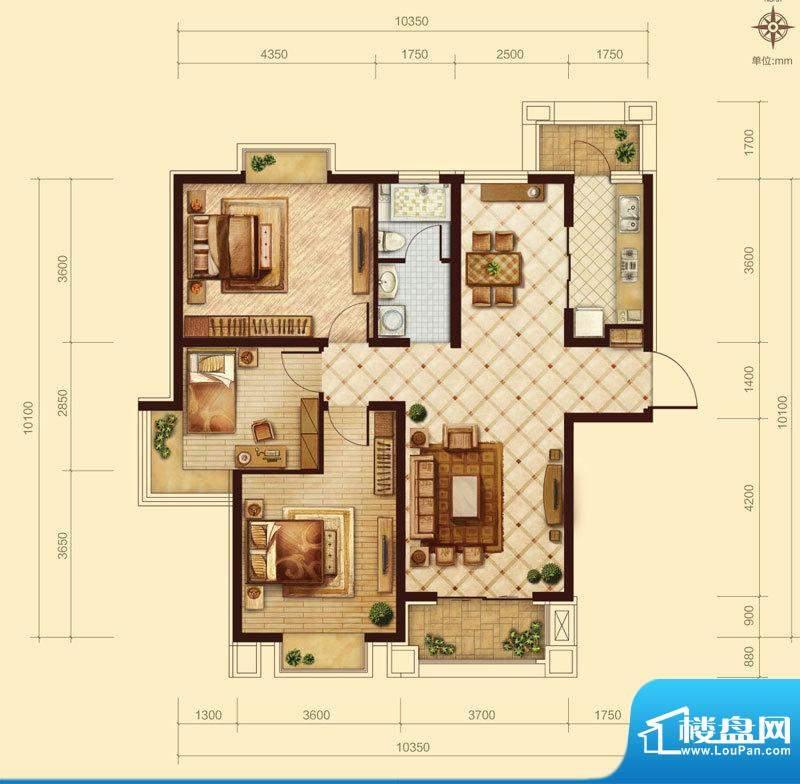 中交凯旋城B2 3室2厅面积:122.00m平米