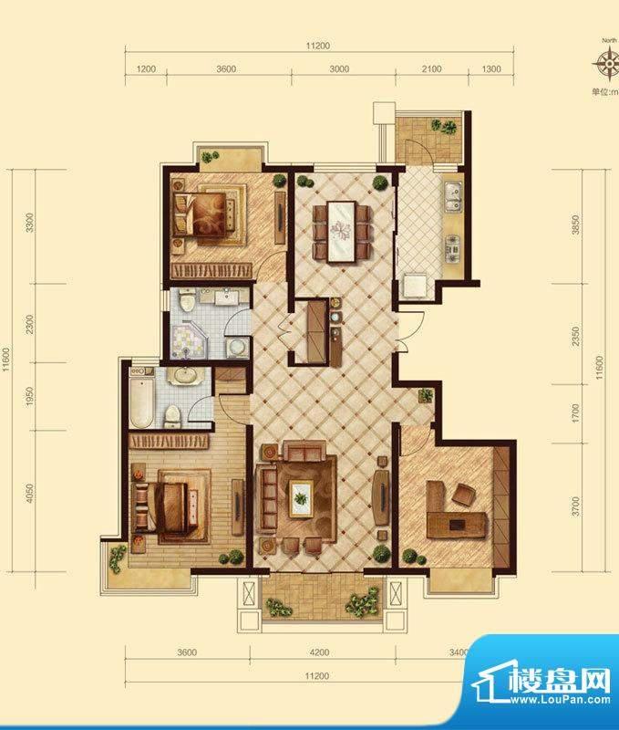 中交凯旋城C1 3室2厅面积:140.00m平米