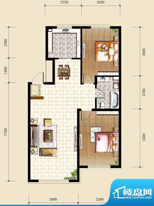 天格东湖湾H-5 2室2面积:90.46m平米