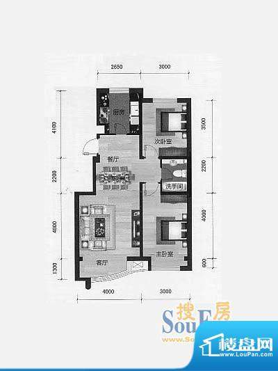 林海景天林丰苑1 2室面积:87.00m平米