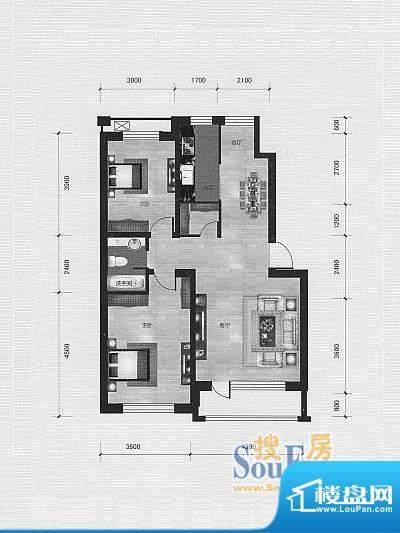 林海景天林香墅3 2室面积:96.00m平米