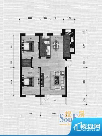 林海景天林香墅5 2室面积:88.00m平米