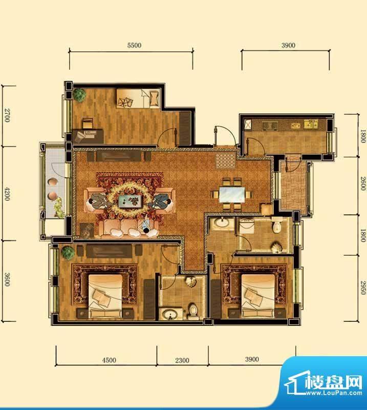 瀚新东方托莱多12#1面积:126.94m平米