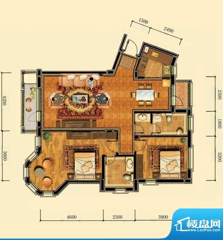 瀚新东方托莱多12#1面积:117.33m平米