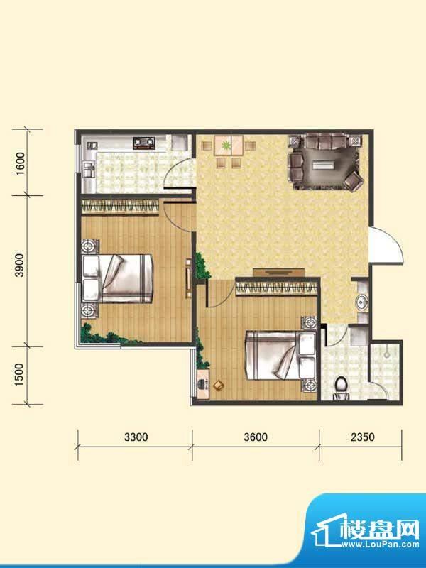 水木清华b# 2室1厅1面积:70.90m平米
