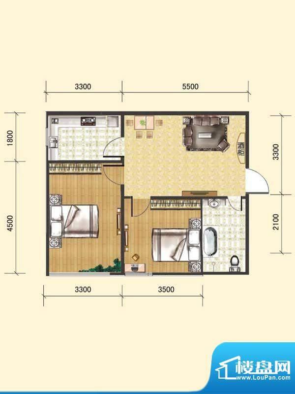 水木清华c# 2室1厅1面积:71.58m平米