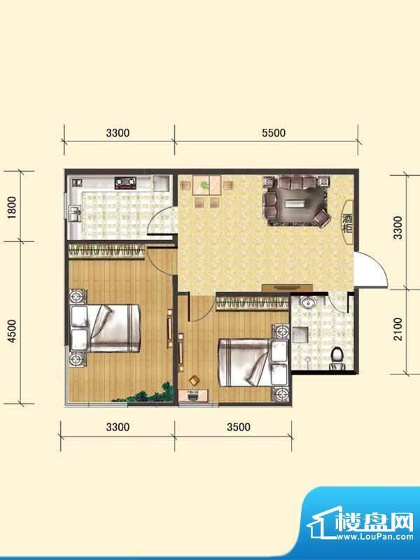 水木清华c1# 2室1厅面积:69.66m平米