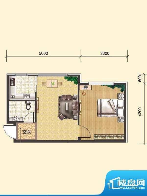 水木清华E# 1室1厅1面积:49.25m平米