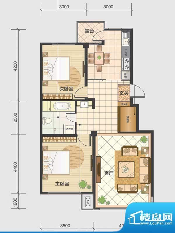 水木清华a3-c 2室2厅面积:92.25m平米