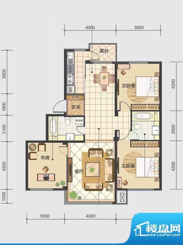 水木清华a3-b 3室2厅面积:119.80m平米