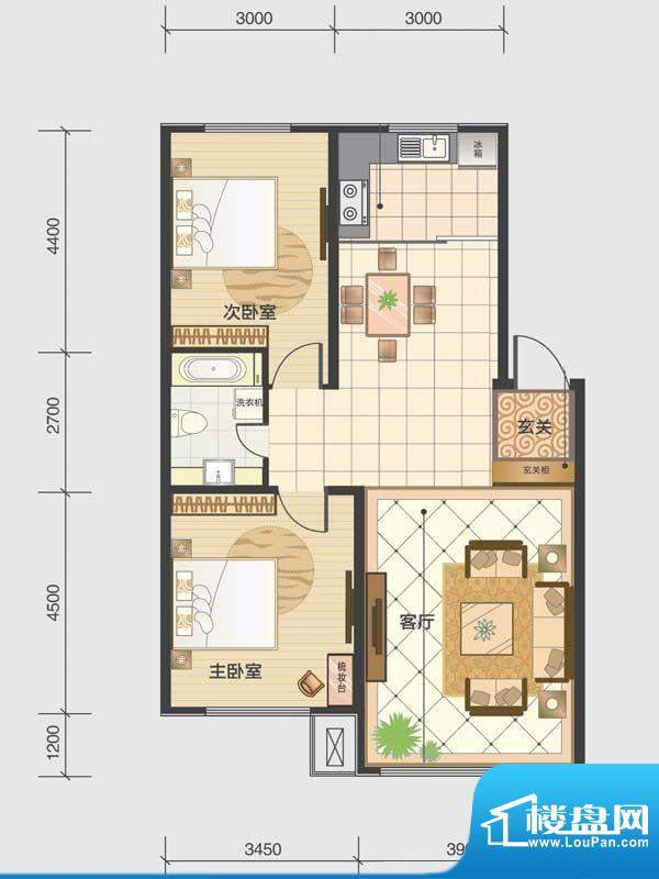 水木清华a2-bc 2室2面积:94.90m平米