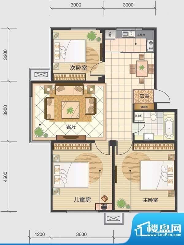 水木清华a2-a 3室2厅面积:95.65m平米