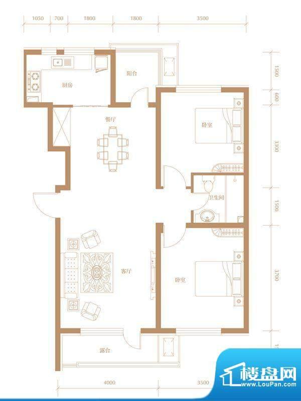 锦城明郡b区户型1 2面积:99.10m平米