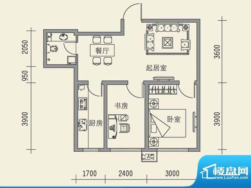 锦湖花园户型图8 2室面积:68.34m平米