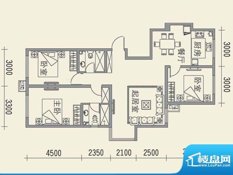 锦湖花园户型图7 3室面积:122.87m平米