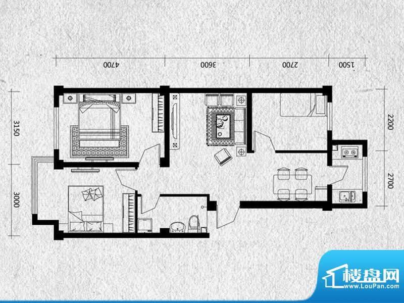 馥润嘉园户型图-3 3面积:78.08m平米