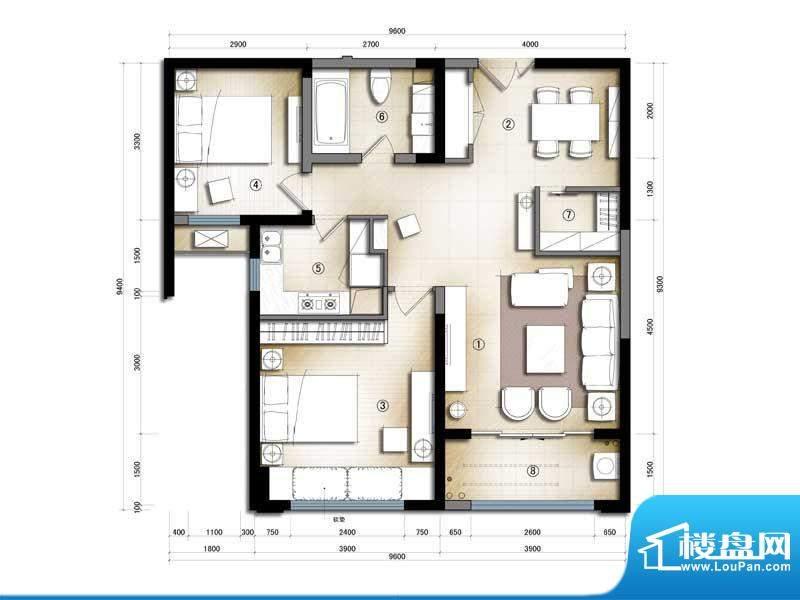 滨海公寓3#B6#7#C户面积:0.00m平米