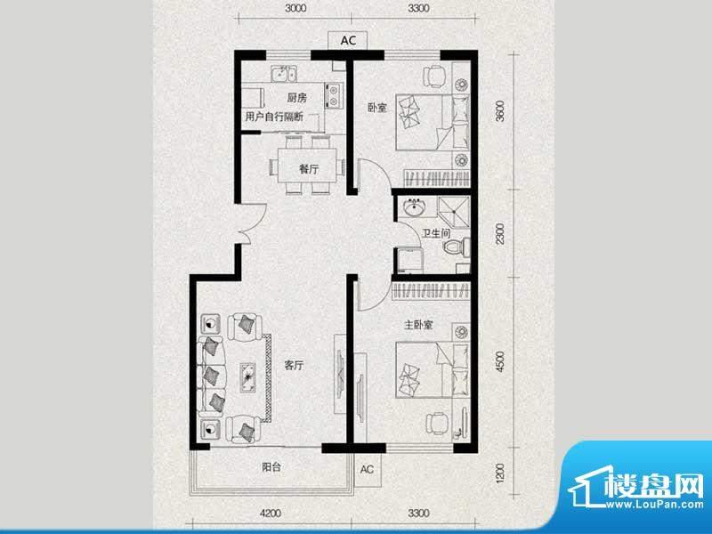 翔河湾小区221-89.7面积:89.79m平米