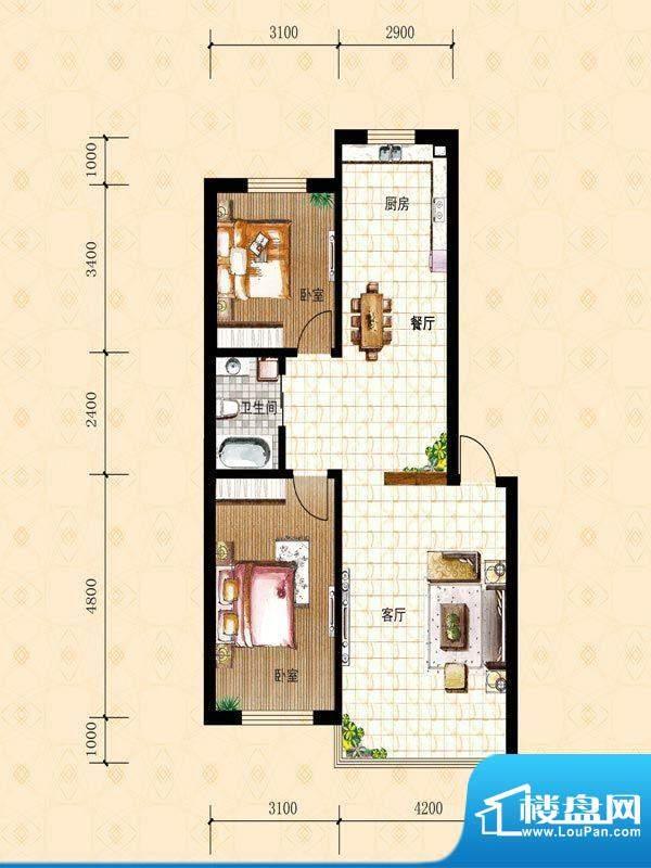禾泰嘉园I 2室2厅1卫面积:88.40m平米