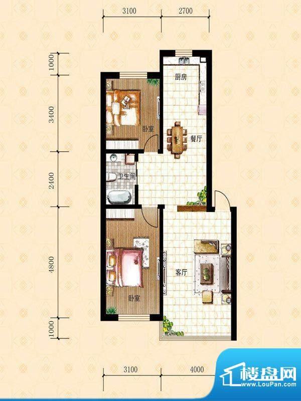 禾泰嘉园H 2室2厅1卫面积:85.80m平米