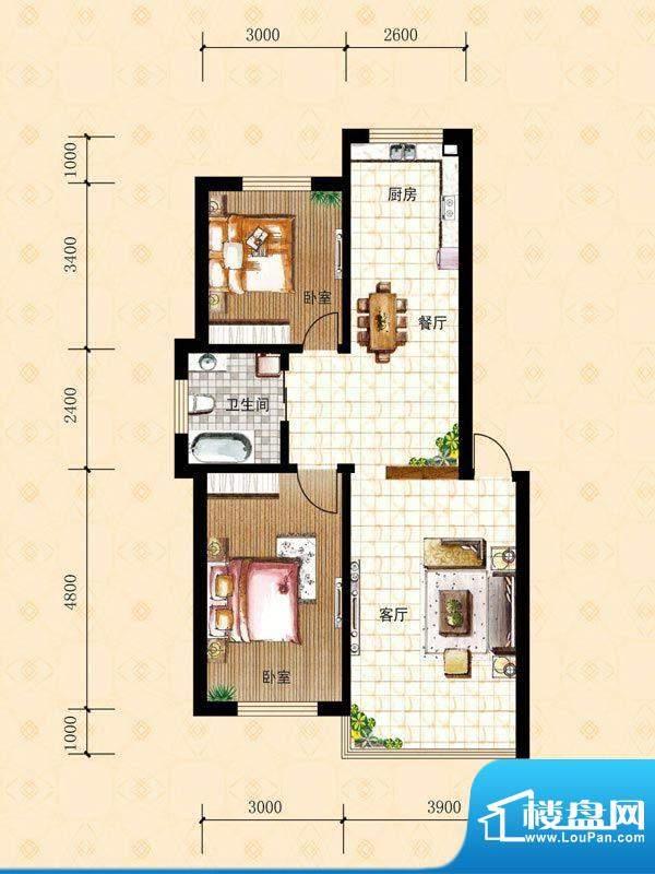 禾泰嘉园G 2室2厅1卫面积:84.60m平米