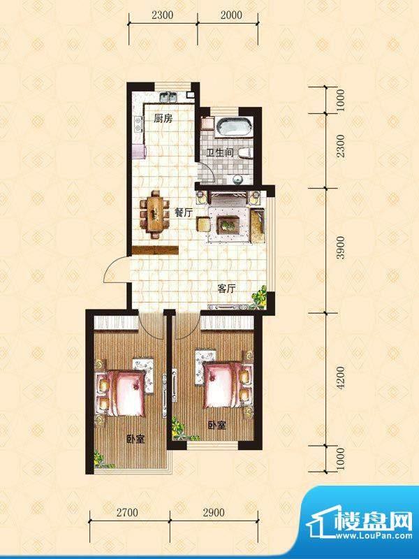 禾泰嘉园A 2室2厅2卫面积:68.30m平米