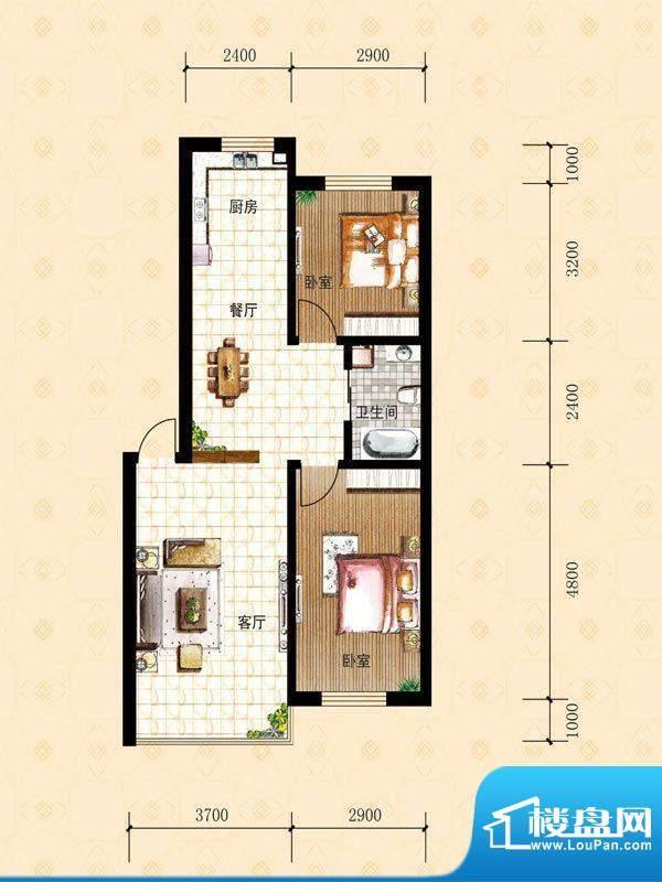 禾泰嘉园B 2室2厅1卫面积:78.30m平米