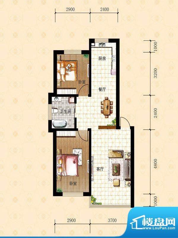 禾泰嘉园C 2室2厅1卫面积:79.50m平米