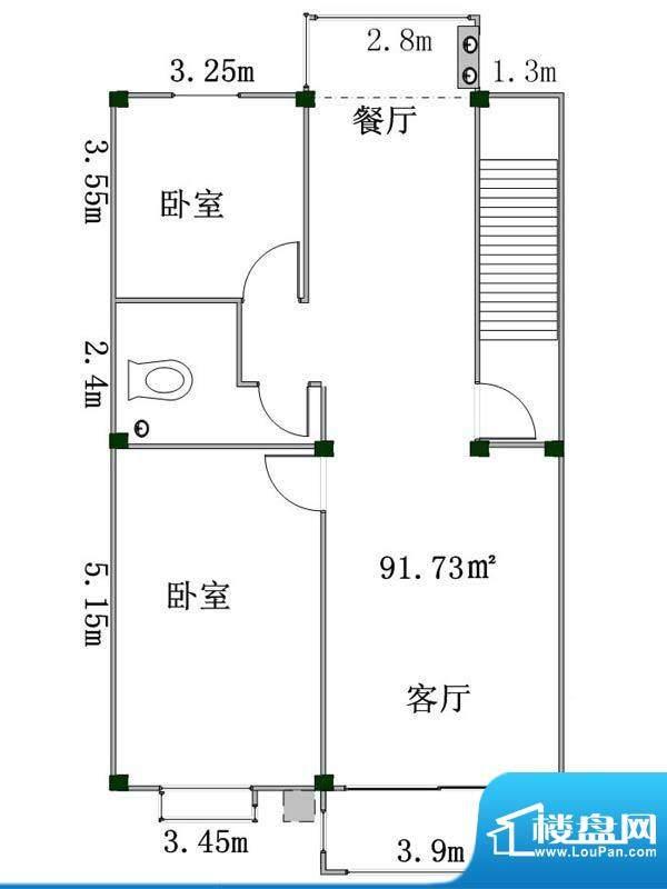 盛業豪庭4#楼东一户面积:91.73m平米
