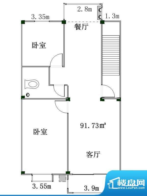盛業豪庭4#楼西一户面积:91.73m平米