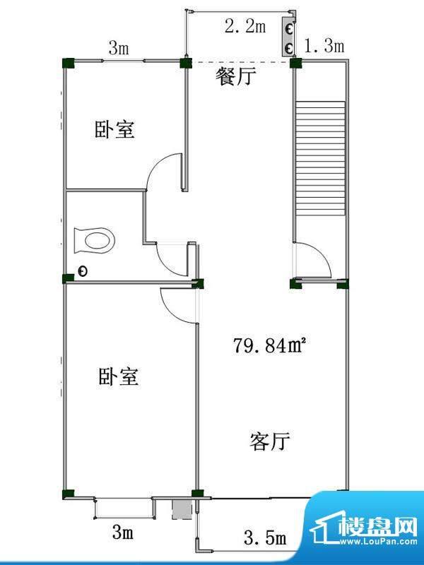 盛業豪庭5#楼标准户面积:79.84m平米