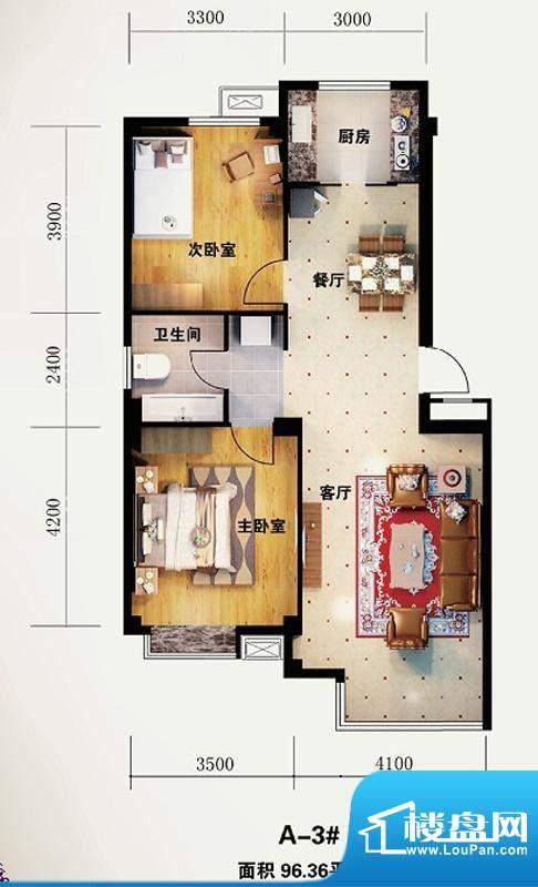 海园壹品A-3# 2室2厅面积:96.36m平米