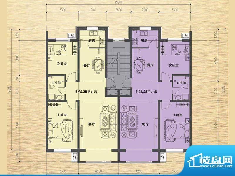 恒瑶·水韵城B户型-面积:96.28m平米