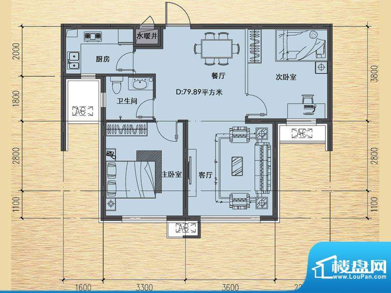 恒瑶·水韵城D户型-面积:79.89m平米