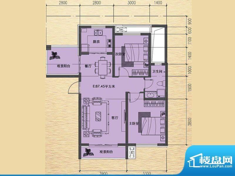 恒瑶·水韵城E户型-面积:87.45m平米