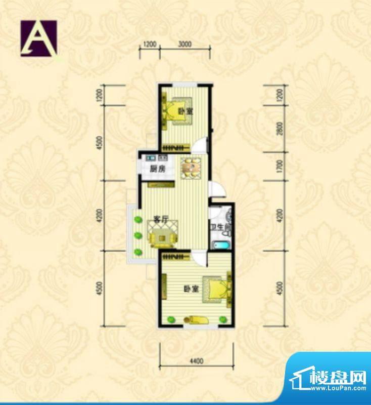 金城·丽都A户型 2室面积:84.96m平米
