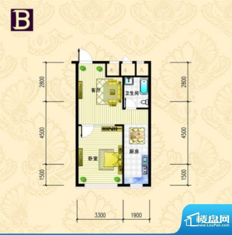 金城·丽都B户型 1室面积:59.89m平米