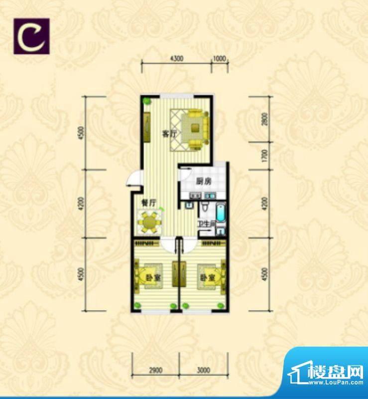 金城·丽都C户型 2室面积:98.51m平米