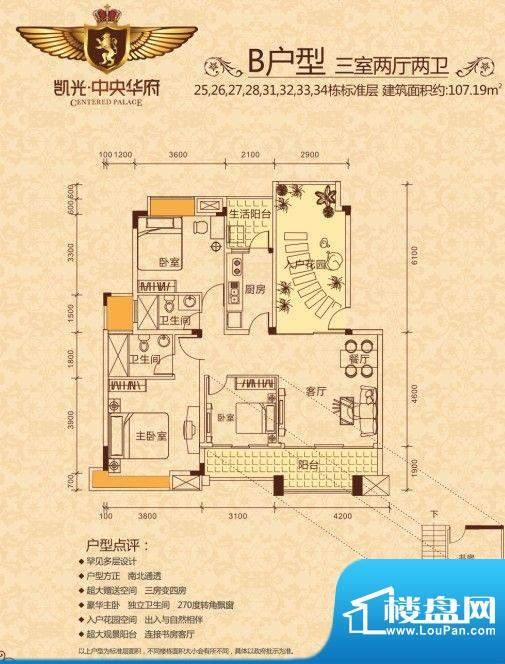 凯光中央华府B户型 面积:107.19m平米