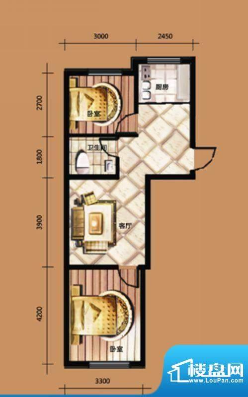 威尼斯水城户型图 2面积:62.00m平米