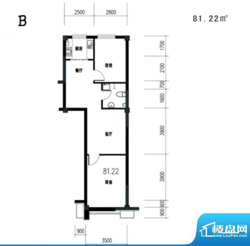 锦城·四月天香槟公面积:81.22m平米