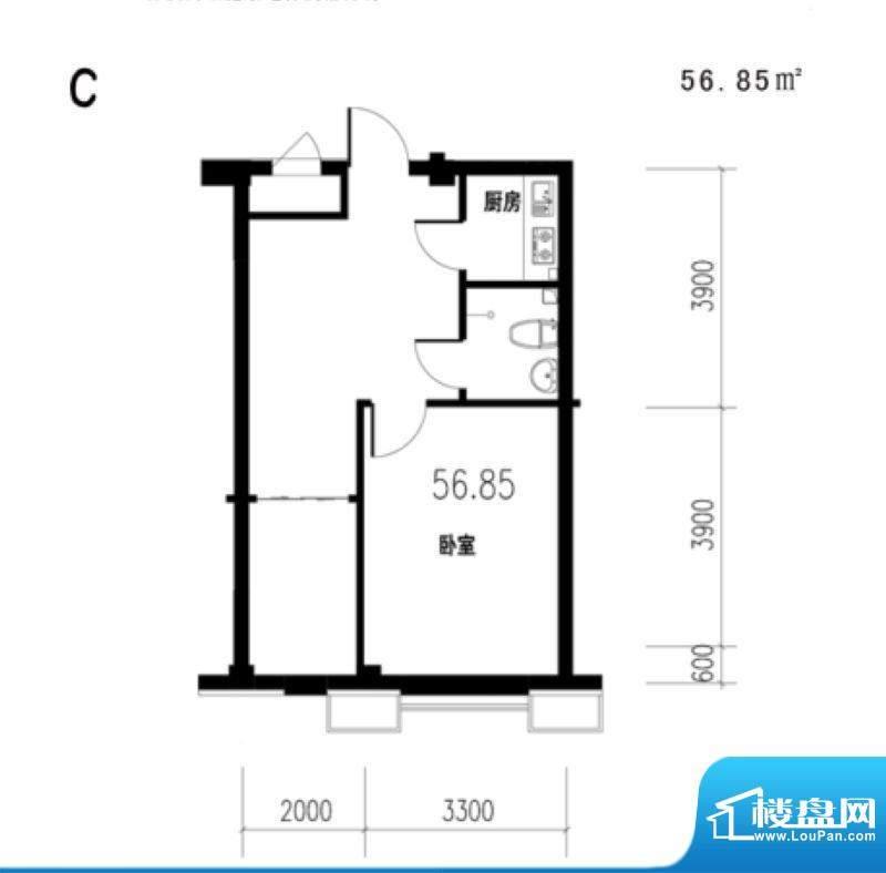 锦城·四月天香槟公面积:56.85m平米
