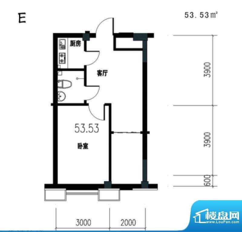 锦城·四月天香槟公面积:53.53m平米