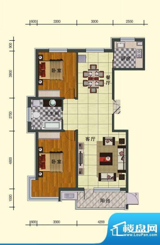 东湖国际三号楼 2室面积:122.07m平米