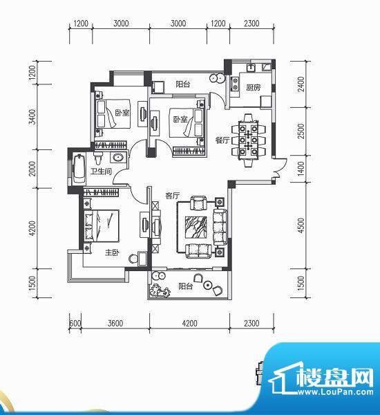 青城中央广场2#楼A户面积:0.00m平米