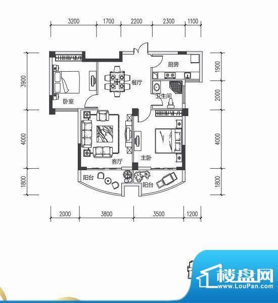 青城中央广场2#楼B户面积:0.00m平米